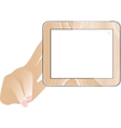 hand and Tablet computer with empty monitor vector image vector image