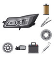 isolated object of auto and part symbol set of vector image vector image