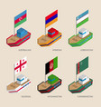 isometric ships with flags of asian countries vector image vector image