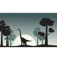 Landscape of brachiosaurus silhouettes vector image vector image