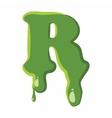Letter R made of green slime vector image vector image