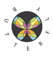 logo abstract butterfly in the circle vector image vector image