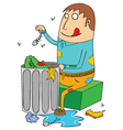 Man eating from trash vector image vector image