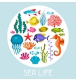 marine life set icons objects and sea animals vector image