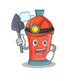 miner aerosol spray can character cartoon vector image vector image