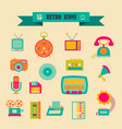 multicolored icons with tape on topic retro vector image vector image