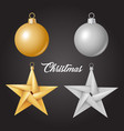 realistic christmas tree toy ball star vector image vector image