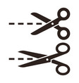 scissors with cut lines vector image vector image