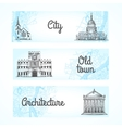 set banners with buildings vector image