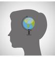 silhouette head boy globe education online vector image