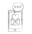 smartphone message love romantic dialogue vector image vector image
