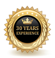 Thirty Years Experience Badge vector image vector image