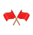 Two crossed flags of China icon cartoon style vector image vector image