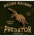Vintage label with tyrannosaur vector image