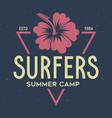 vintage surfing emblem for web design or print vector image