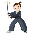 Japanese warrior with sword vector image