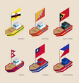 isometric 3d ships with flags of asian countries vector image