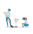 man and woman holding shovel and planting plants vector image