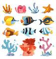 cartoon aquarium decor objects - underwater vector image