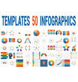 50 templates for infographics for five positions vector image vector image