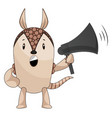 armadillo with megaphone on white background vector image vector image