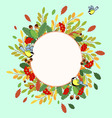 Autumn ornament from Rowan leaves nuts and birds vector image vector image