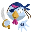 Bird Pirate with saber shows black mark Blue vector image