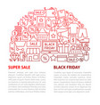 black friday line template vector image vector image