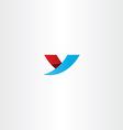 blue red icon letter y logo y symbol design vector image vector image