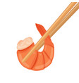 boiled shrimp in chopsticks cooked tiger prawn vector image vector image