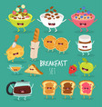 breakfast cereal dish coffee toast fruit cheese vector image