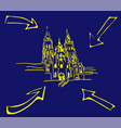 cathedral santiago de compostela with yellow vector image