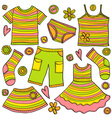 childrens clothes doodle vector image vector image