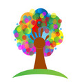 colorful tree and hand abstract symbol vector image vector image