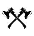 crossed lumberjack hatchets in engraving style vector image vector image