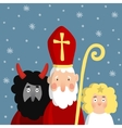 Cute Saint Nicholas with devil angel and falling vector image