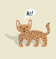cute wild cheetah cat hand drawn vector image