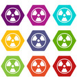 danger nuclear icon set color hexahedron vector image vector image