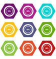 diagram pie chart icon set color hexahedron vector image vector image