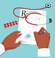 doctor hands writing prescription on paper vector image vector image
