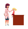 doctor pediatrician checking girl throat vector image vector image