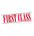 first class red grunge vintage stamp isolated on vector image vector image