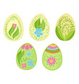 floral funny easter egg collection doodle style vector image vector image