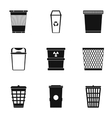Garbage icons set simple style vector image vector image
