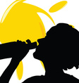 girl drink on sun silhouette vector image vector image