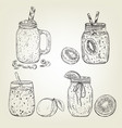 graphic sketch different smoothie icons vector image vector image