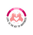 hand is a gesture of heart love is the key vector image