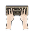 hands working in keyboard system device vector image