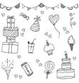 Happy birthday doodle hand drawn vector image vector image