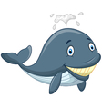 Happy cartoon whale vector image vector image